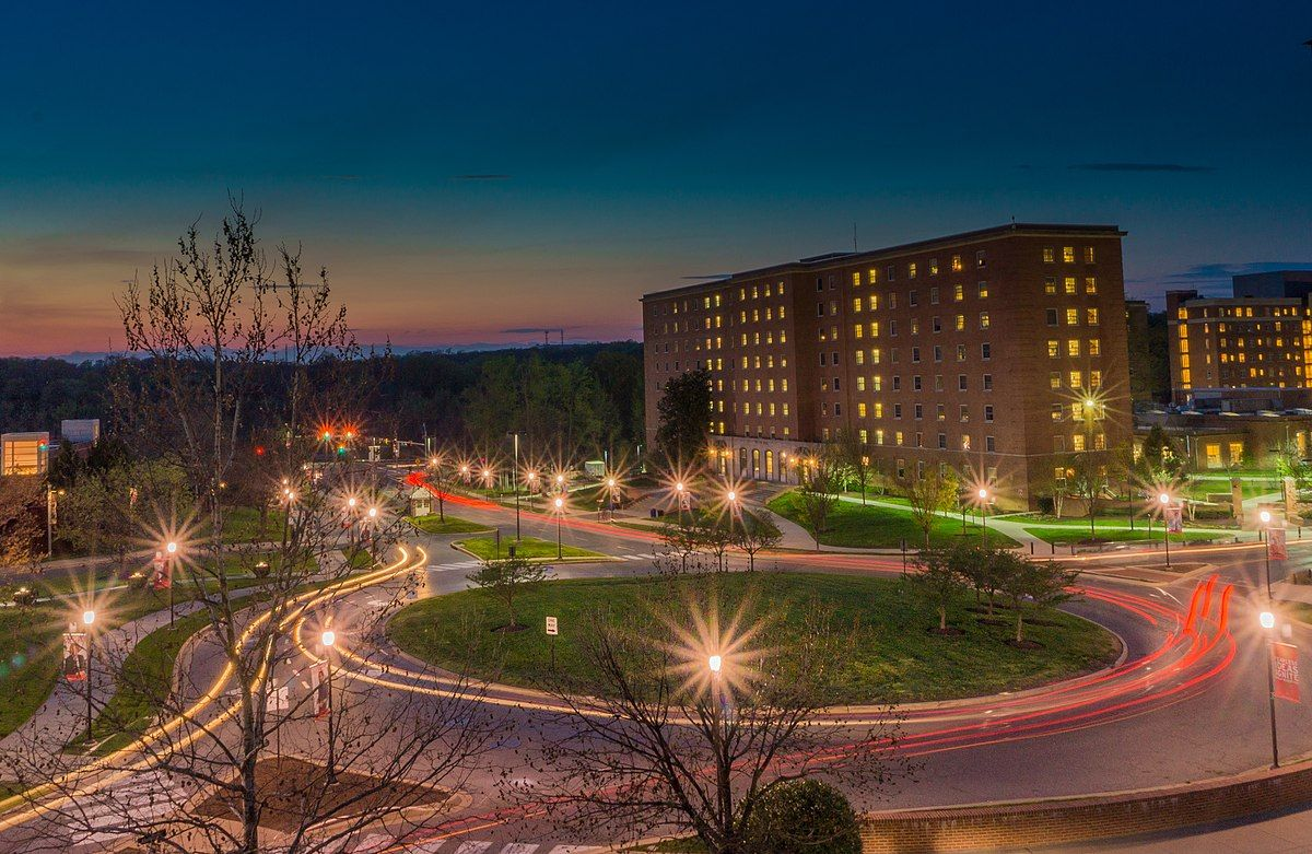 The University of Maryland, College Park at night